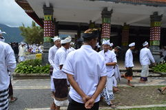 Balinese Prayers in Ulun Danu Beratan Temple Bali Royalty Free Stock Photography