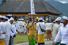Balinese Prayers in Ulun Danu Beratan Temple Bali Royalty Free Stock Image