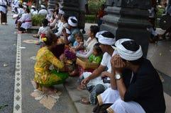 Balinese Prayers in Ulun Danu Beratan Temple Bali Stock Photography