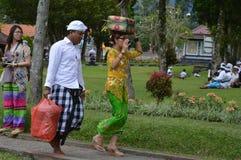 Balinese Prayers in Ulun Danu Beratan Temple Bali Stock Photo