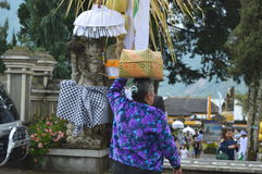 Balinese Prayers in Ulun Danu Beratan Temple Bali Stock Image