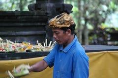 Balinese Prayers in Ulun Danu Temple Royalty Free Stock Photography