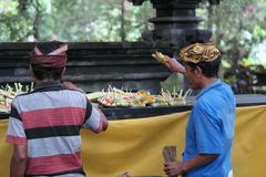 Balinese Prayers in Ulun Danu Temple Stock Photos