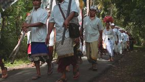 Balinese procession going to temple through forest road with colorful flags stock video