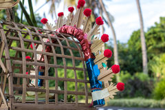 Balinese religious offerings made during traditional ceremony. Tropical island Bali, Indonesia. Stock Photo