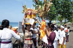 Balinese ritual and offering at Goa Lawah, Royalty Free Stock Images