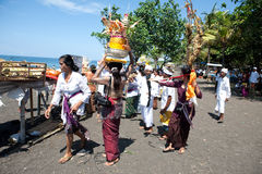 Balinese ritual and offering at Goa Lawah, Stock Photography
