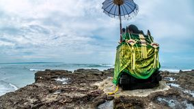 Balinese Small Temple Indonesian Rocky Beach Surf Timelapse 4k stock video