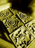 Balinese stone craft details stock photography