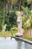Balinese stone sculpture in swimming pool . Island Bali, Ubud, Indonesia Royalty Free Stock Photography