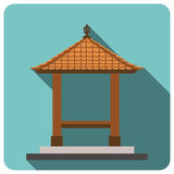 Balinese style, traditional building. Flat icon. EPS 10. Royalty Free Stock Photo