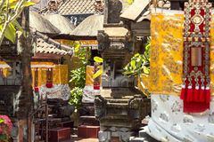 Balinese Temple Decorated for a Ceremony. Look inside the Bali temple on a ceremony day Royalty Free Stock Photos