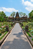 Balinese temple with lotus fowers pond Stock Image