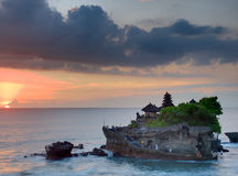 Balinese temple on sunset Stock Photo
