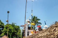 Balinese temple during traditional ceremony in Ubud, Gianyar. Indonesia royalty free stock photo