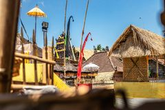 Balinese temple during traditional ceremony in Ubud, Gianyar. Indonesia stock image