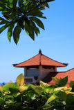 Balinese traditional building roof. Vertical composition Stock Photos