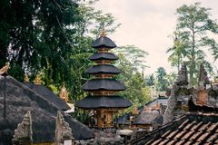 Balinese roofs of temples made of straw royalty free stock photo