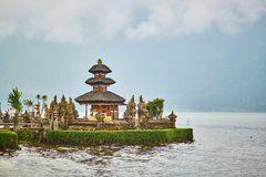 Balinese water palace on Bratan lake Royalty Free Stock Image