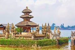 Balinese water palace on Bratan lake Royalty Free Stock Images