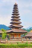 Balinese water palace on Bratan lake Royalty Free Stock Photo