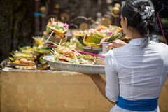 Balinese  woman carrying offering to local temple in Bali, Stock Image