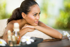 Balinese woman enjoying in spa day Royalty Free Stock Photography