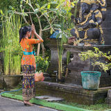 Balinese woman to pray before the statue of Ganesha. Bali, Indonesia Royalty Free Stock Photos
