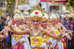Balinese women dancing traditional temple dance Stock Photos