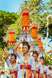 Balinese women with religious offering Royalty Free Stock Photos