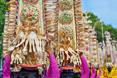Balinese women in traditional costumes with religious offerings Stock Images