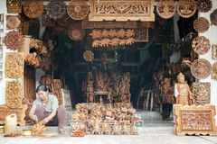 Balinese woodcraft shop Royalty Free Stock Image