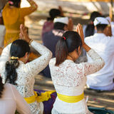 Balinese young women praying in temple Stock Images