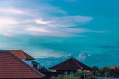 Balineselandschaftsdorf zur Sonnenuntergangzeit Bali, Indonesien Stockbilder