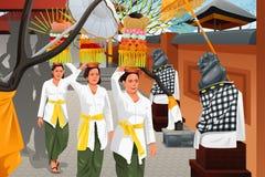 Balineseleute in einer traditionellen Feier stock abbildung