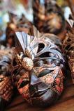 balinesen maskerar trä royaltyfri bild