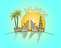 Balinesesolnedgång stock illustrationer