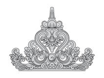 Balinesestil Överkanten av takgarneringen Traditionell stenkonst stock illustrationer
