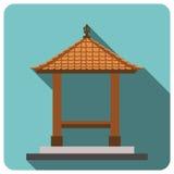 Balinesestil, traditionell byggnad Plan symbol 10 eps royaltyfri illustrationer