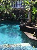 Balineseträdgård och pöl i Ubud, Bali, Indonesien Royaltyfri Fotografi