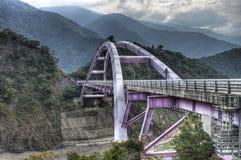 Baling Bridge at LaLa Mountain, Toayuan Taiwan. Baling Bridge, part of the Northern Cross-island Highway, against the background of a narrow river gorge at LaLa Stock Photos