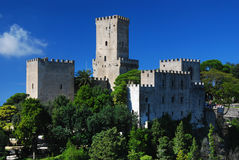 Balio castle in Erice. Erice, used to used to be one of the most extensive towns of Sicily, is situated at the top of the mountain, 751 meters above sea level Royalty Free Stock Image