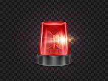 Balise de clignotant de secours rouge de vecteur avec la sirène illustration stock