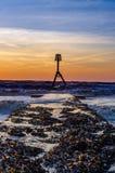 Balise sur la plage de sud de Bridlington photos libres de droits