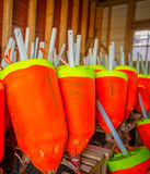 Balises colorées de pêche de homard photographie stock libre de droits