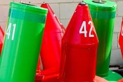 Balises - rouge et vert Photographie stock libre de droits