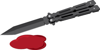 Balisong butterfly knife. And blood Royalty Free Stock Photos