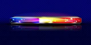Baliza do vetor do pisca-pisca 3D da luz do alarme da sirene de polícia ilustração royalty free