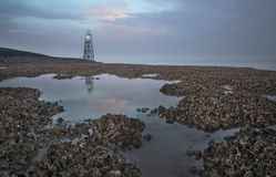 Baliza leve com reflexão no Westerschelde perto do Griete, Zeeuws-Vlaanderen, Zeeland, os Países Baixos Imagem de Stock