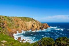Baliza no por do sol, ilha de Woolamai do cabo de philip, victoria, Austrália imagem de stock